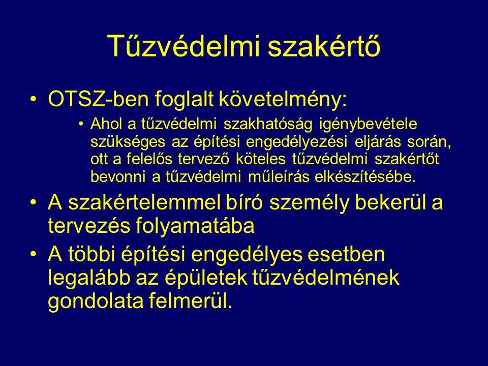 Tűzvédelmi szakértő OTSZ-ben foglalt követelmény: Ahol a tűzvédelmi szakhatóság igénybevétele szükséges az építési engedélyezési eljárás során, ott a
