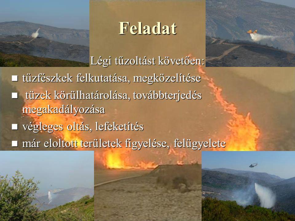 Feladat Légi tűzoltást követően: tűzfészkek felkutatása, megközelítése tűzfészkek felkutatása, megközelítése tüzek körülhatárolása, továbbterjedés megakadályozása tüzek körülhatárolása, továbbterjedés megakadályozása végleges oltás, lefeketítés végleges oltás, lefeketítés már eloltott területek figyelése, felügyelete már eloltott területek figyelése, felügyelete
