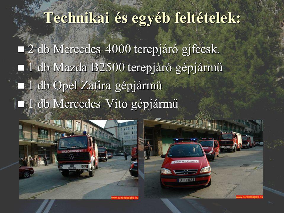 Technikai és egyéb feltételek: 2 db Mercedes 4000 terepjáró gjfecsk.