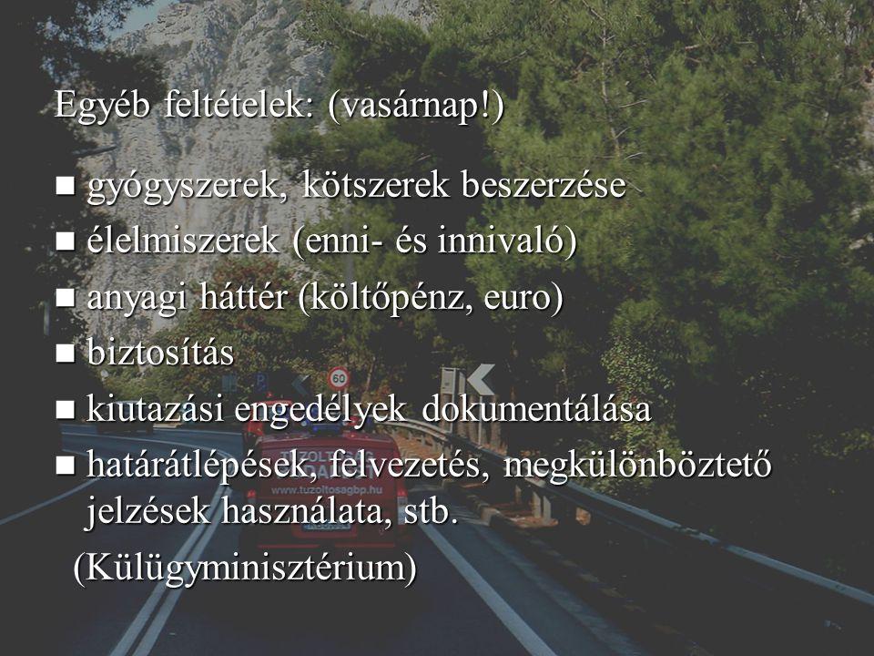 Egyéb feltételek: (vasárnap!) gyógyszerek, kötszerek beszerzése gyógyszerek, kötszerek beszerzése élelmiszerek (enni- és innivaló) élelmiszerek (enni- és innivaló) anyagi háttér (költőpénz, euro) anyagi háttér (költőpénz, euro) biztosítás biztosítás kiutazási engedélyek dokumentálása kiutazási engedélyek dokumentálása határátlépések, felvezetés, megkülönböztető jelzések használata, stb.