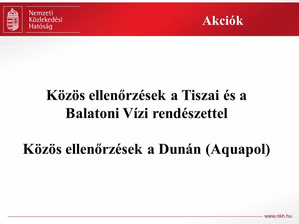 Közös ellenőrzések a Tiszai és a Balatoni Vízi rendészettel Közös ellenőrzések a Dunán (Aquapol) Akciók