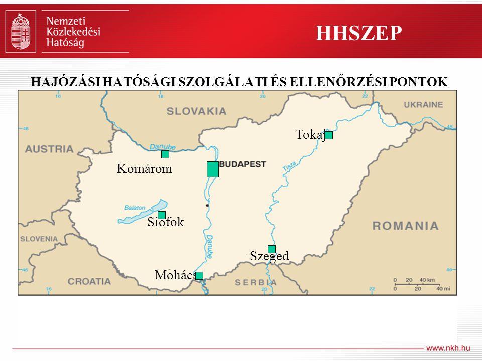 6 HAJÓZÁSI HATÓSÁGI SZOLGÁLATI ÉS ELLENŐRZÉSI PONTOK Komárom Tokaj Szeged Mohács Siófok HHSZEP