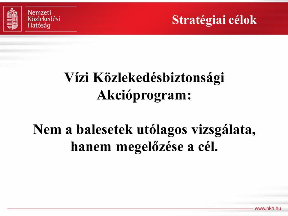 Stratégiai célok Vízi Közlekedésbiztonsági Akcióprogram: Nem a balesetek utólagos vizsgálata, hanem megelőzése a cél.