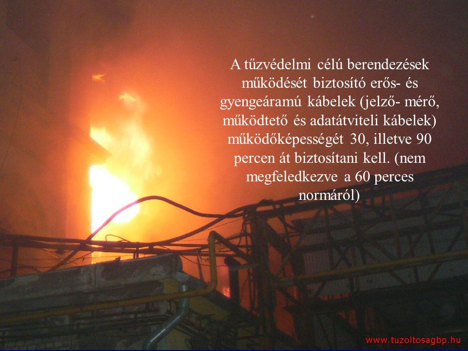 A tűzvédelmi célú berendezések működését biztosító erős- és gyengeáramú kábelek (jelző- mérő, működtető és adatátviteli kábelek) működőképességét 30,