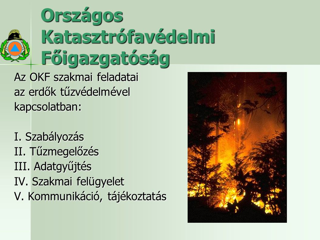 Országos Katasztrófavédelmi Főigazgatóság Az OKF szakmai feladatai az erdők tűzvédelmével kapcsolatban: I. Szabályozás II. Tűzmegelőzés III. Adatgyűjt
