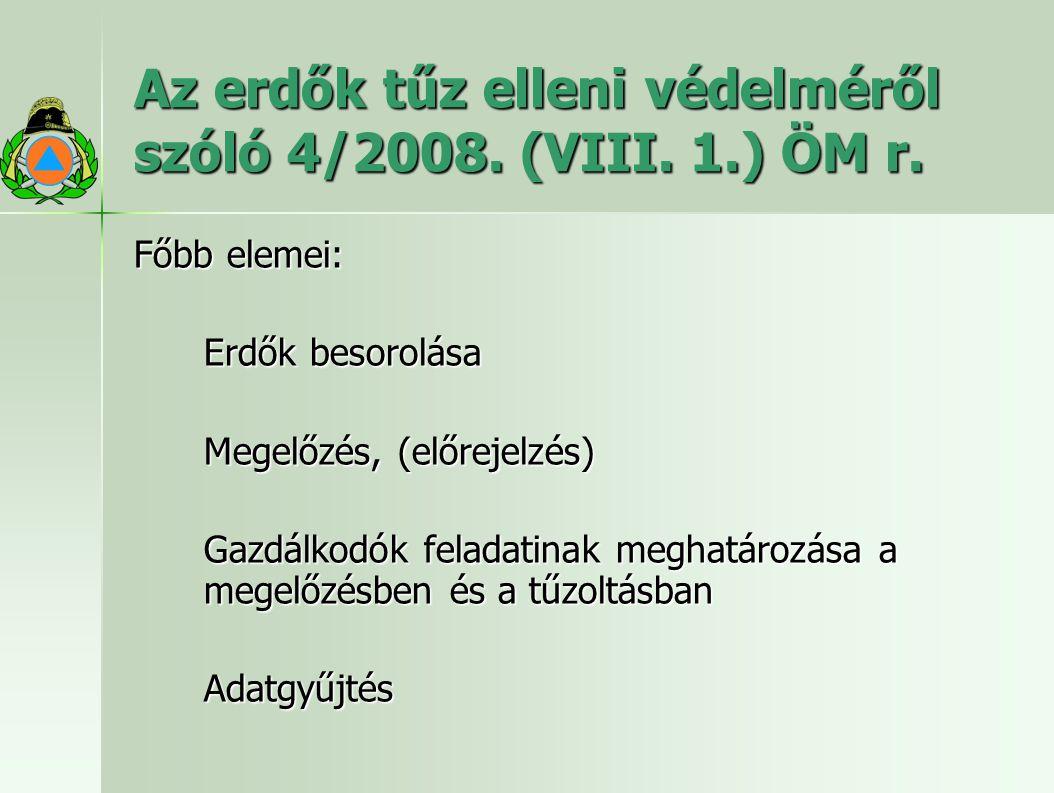 Az erdők tűz elleni védelméről szóló 4/2008. (VIII. 1.) ÖM r. Főbb elemei: Erdők besorolása Megelőzés, (előrejelzés) Gazdálkodók feladatinak meghatáro