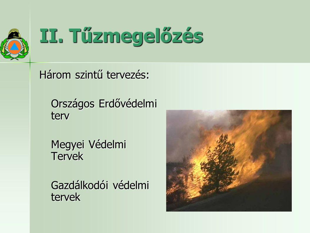 II. Tűzmegelőzés Három szintű tervezés: Országos Erdővédelmi terv Megyei Védelmi Tervek Gazdálkodói védelmi tervek