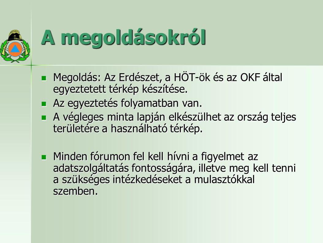 A megoldásokról Megoldás: Az Erdészet, a HÖT-ök és az OKF által egyeztetett térkép készítése. Megoldás: Az Erdészet, a HÖT-ök és az OKF által egyeztet
