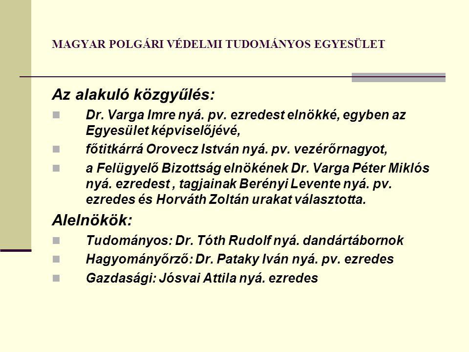 MAGYAR POLGÁRI VÉDELMI TUDOMÁNYOS EGYESÜLET Az alakuló közgyűlés: Dr. Varga Imre nyá. pv. ezredest elnökké, egyben az Egyesület képviselőjévé, főtitká