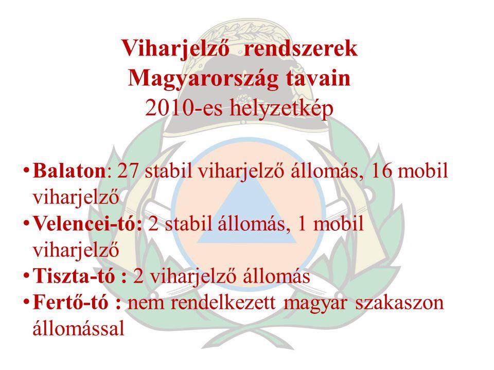 Viharjelző rendszerek Magyarország tavain 2010-es helyzetkép Balaton: 27 stabil viharjelző állomás, 16 mobil viharjelző Velencei-tó: 2 stabil állomás,