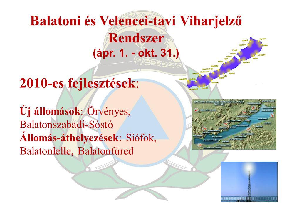 Balatoni és Velencei-tavi Viharjelző Rendszer (ápr. 1. - okt. 31.) 2010-es fejlesztések: Új állomások: Örvényes, Balatonszabadi-Sóstó Állomás-áthelyez
