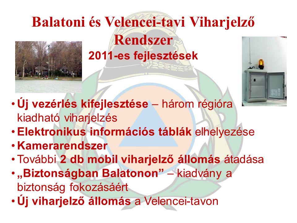 Balatoni és Velencei-tavi Viharjelző Rendszer 2011-es fejlesztések Új vezérlés kifejlesztése – három régióra kiadható viharjelzés Elektronikus informá