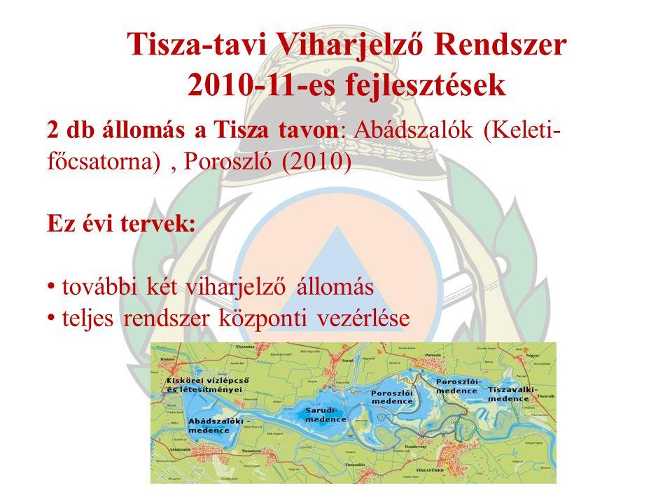 Tisza-tavi Viharjelző Rendszer 2010-11-es fejlesztések 2 db állomás a Tisza tavon: Abádszalók (Keleti- főcsatorna), Poroszló (2010) Ez évi tervek: tov