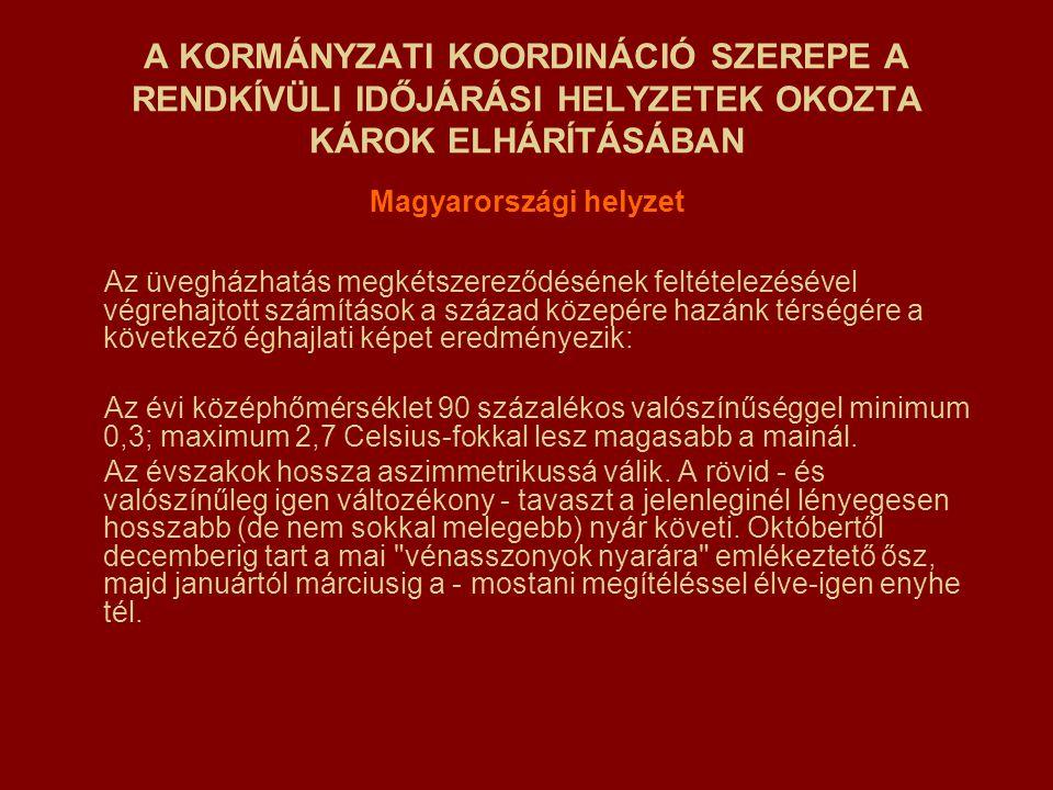 A KORMÁNYZATI KOORDINÁCIÓ SZEREPE A RENDKÍVÜLI IDŐJÁRÁSI HELYZETEK OKOZTA KÁROK ELHÁRÍTÁSÁBAN Magyarországi helyzet Az üvegházhatás megkétszereződésén
