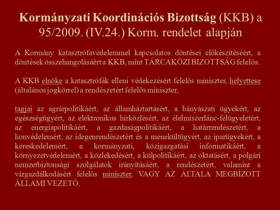 Kormányzati Koordinációs Bizottság (KKB) a 95/2009. (IV.24.) Korm. rendelet alapján A Kormány katasztrófavédelemmel kapcsolatos döntései előkészítéséé