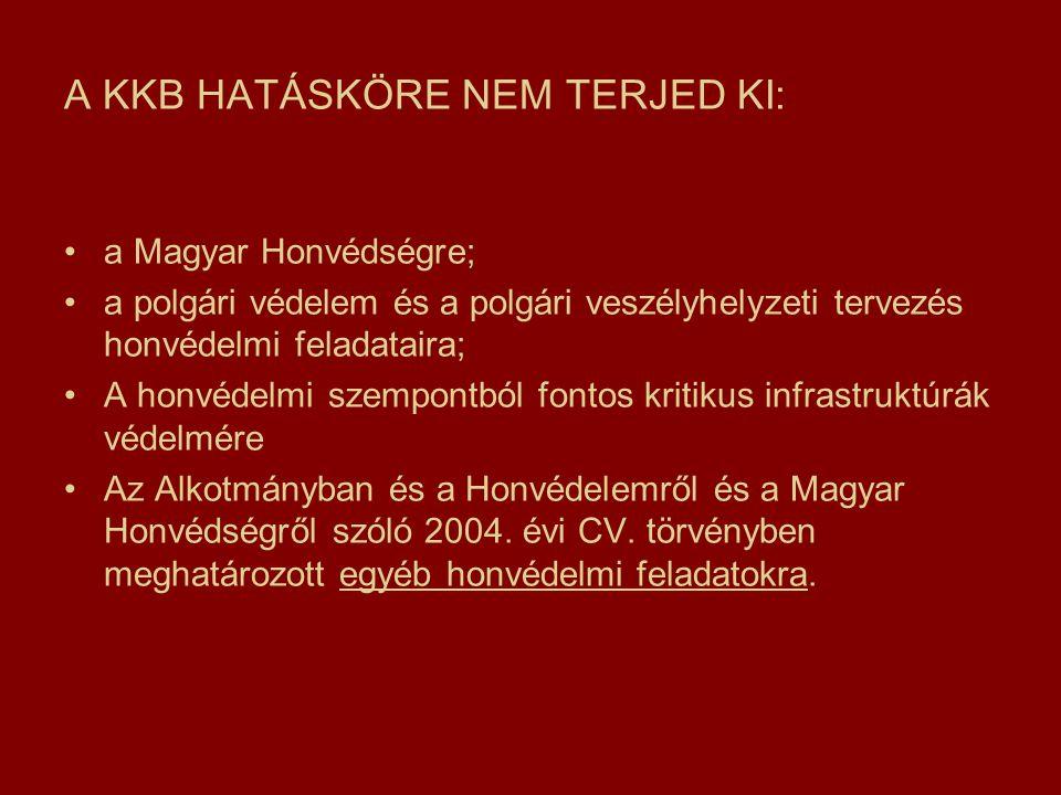 A KKB HATÁSKÖRE NEM TERJED KI: a Magyar Honvédségre; a polgári védelem és a polgári veszélyhelyzeti tervezés honvédelmi feladataira; A honvédelmi szempontból fontos kritikus infrastruktúrák védelmére Az Alkotmányban és a Honvédelemről és a Magyar Honvédségről szóló 2004.