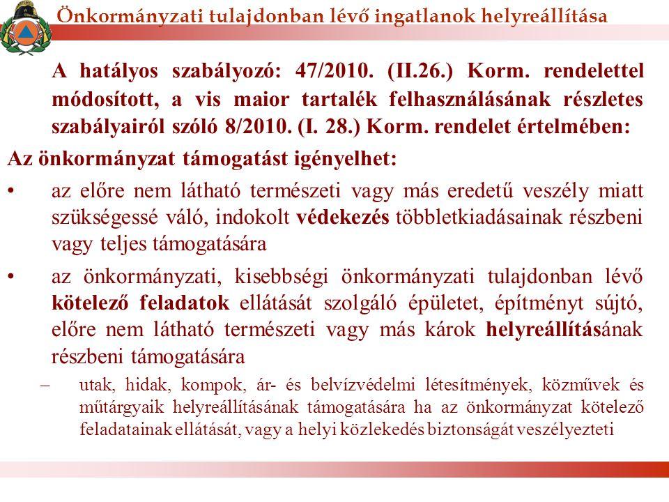 A hatályos szabályozó: 47/2010. (II.26.) Korm. rendelettel módosított, a vis maior tartalék felhasználásának részletes szabályairól szóló 8/2010. (I.