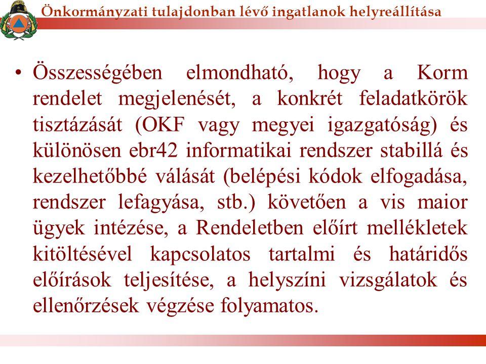 Összességében elmondható, hogy a Korm rendelet megjelenését, a konkrét feladatkörök tisztázását (OKF vagy megyei igazgatóság) és különösen ebr42 infor