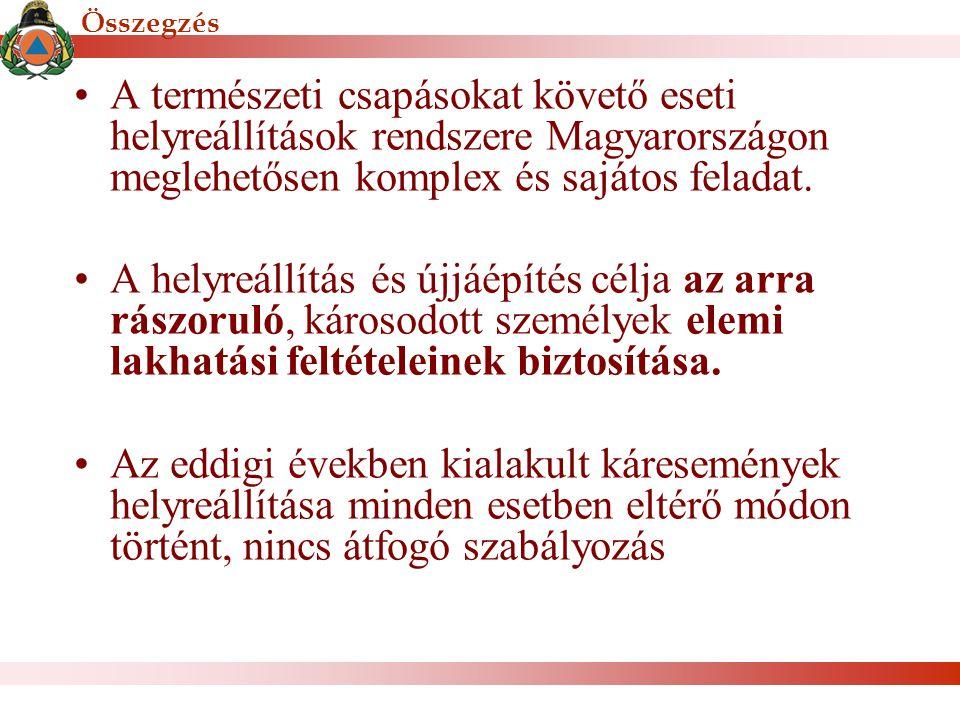 Összegzés A természeti csapásokat követő eseti helyreállítások rendszere Magyarországon meglehetősen komplex és sajátos feladat. A helyreállítás és új