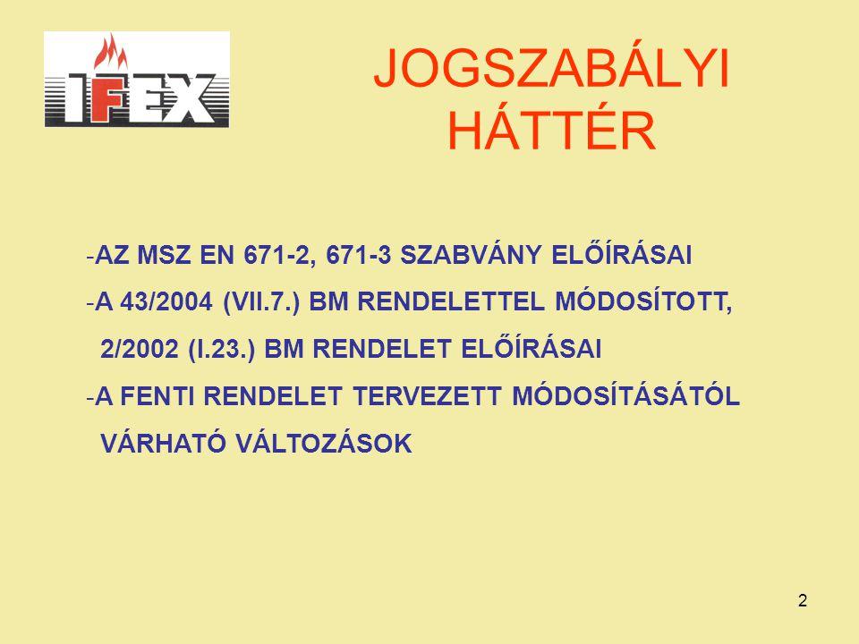 3 MSZ EN 671-2, 671-3 BÁR A 2/2002 RENDELET 2.4.