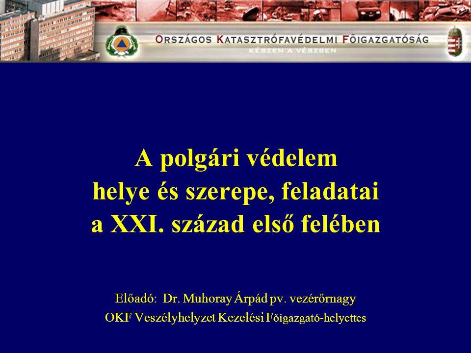 A polgári védelem helye és szerepe, feladatai a XXI. század első felében Előadó: Dr. Muhoray Árpád pv. vezérőrnagy OKF Veszélyhelyzet Kezelési F őigaz