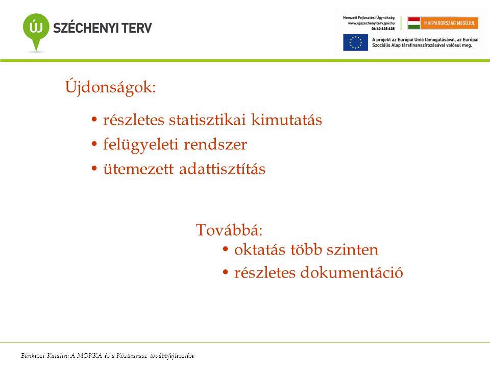 Újdonságok: részletes statisztikai kimutatás felügyeleti rendszer ütemezett adattisztítás Továbbá: oktatás több szinten részletes dokumentáció Bánkesz
