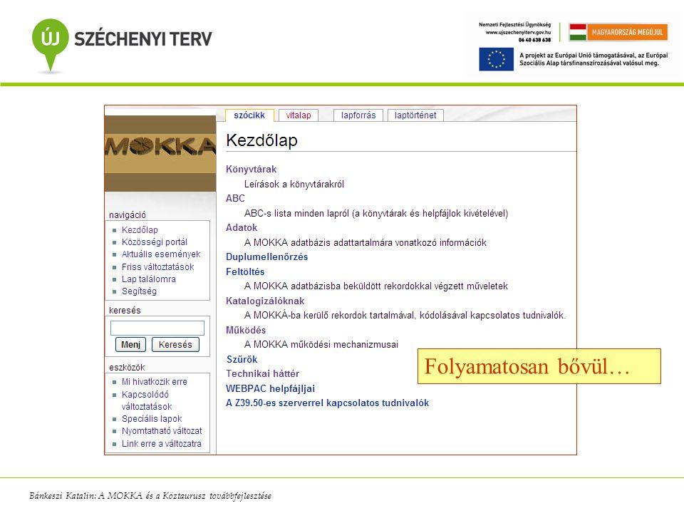 Folyamatosan bővül… Bánkeszi Katalin: A MOKKA és a Köztaurusz továbbfejlesztése
