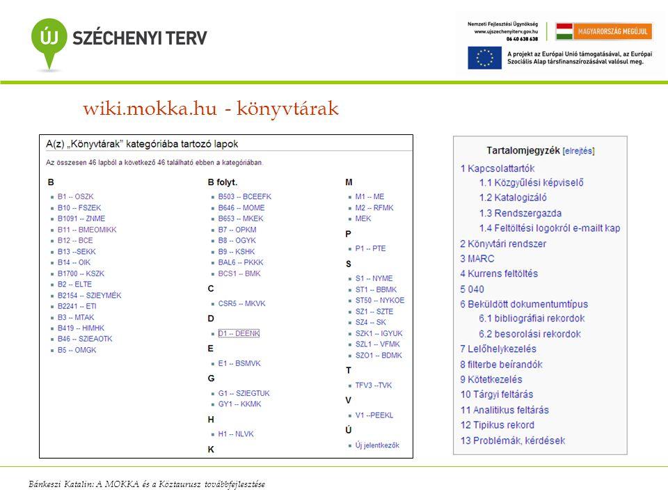 wiki.mokka.hu - könyvtárak Bánkeszi Katalin: A MOKKA és a Köztaurusz továbbfejlesztése