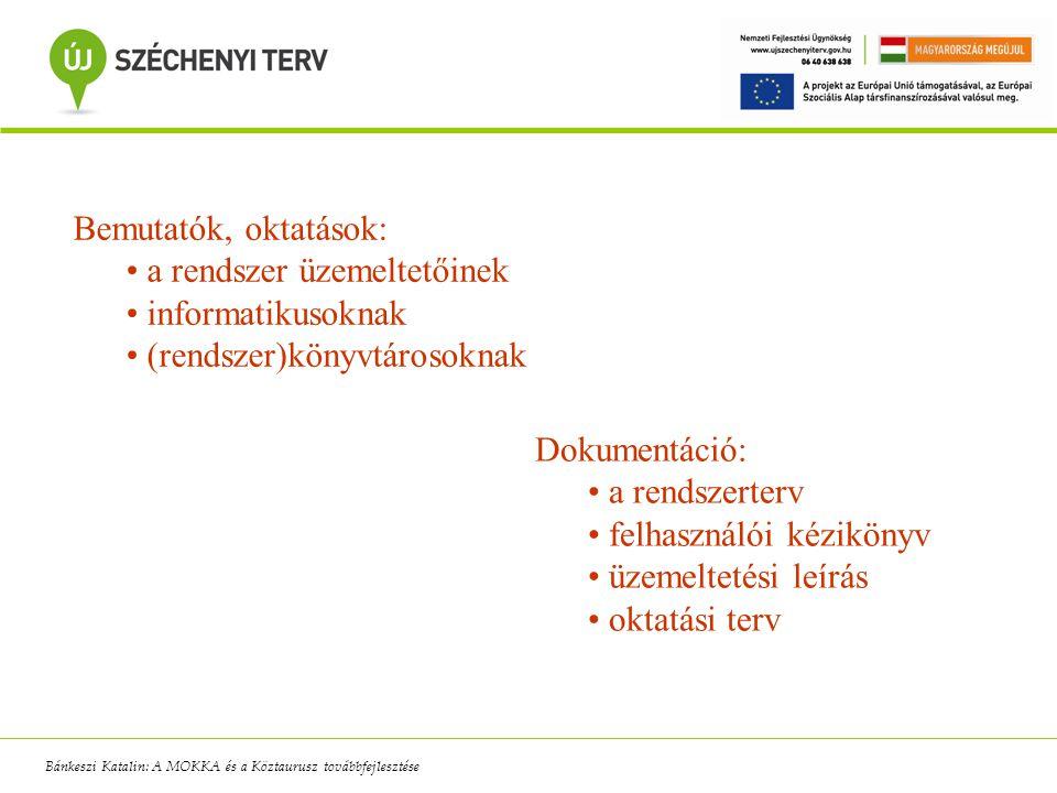 Bemutatók, oktatások: a rendszer üzemeltetőinek informatikusoknak (rendszer)könyvtárosoknak Dokumentáció: a rendszerterv felhasználói kézikönyv üzemel