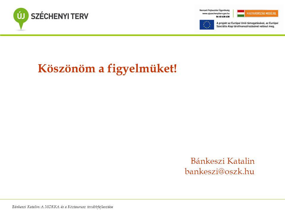 Köszönöm a figyelmüket! Bánkeszi Katalin bankeszi@oszk.hu Bánkeszi Katalin: A MOKKA és a Köztaurusz továbbfejlesztése