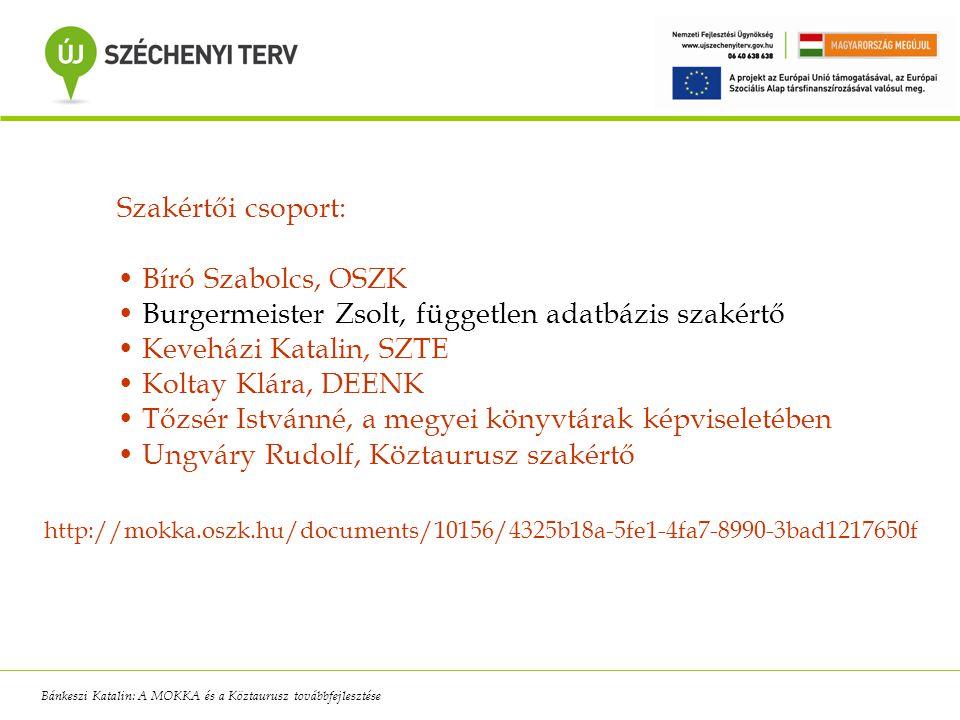 Szakértői csoport: Bíró Szabolcs, OSZK Burgermeister Zsolt, független adatbázis szakértő Keveházi Katalin, SZTE Koltay Klára, DEENK Tőzsér Istvánné, a