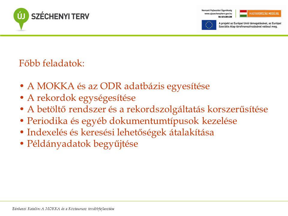Nehézségek: az ODR közbeszerzés csúszása rövid teljesítési határidő a két fejlesztői csapat munkájának összehangolása kommunikációs nehézségek, távolság a régi rendszer üzemeltetési gondja több helyszín, távoli elérés Bánkeszi Katalin: A MOKKA és a Köztaurusz továbbfejlesztése