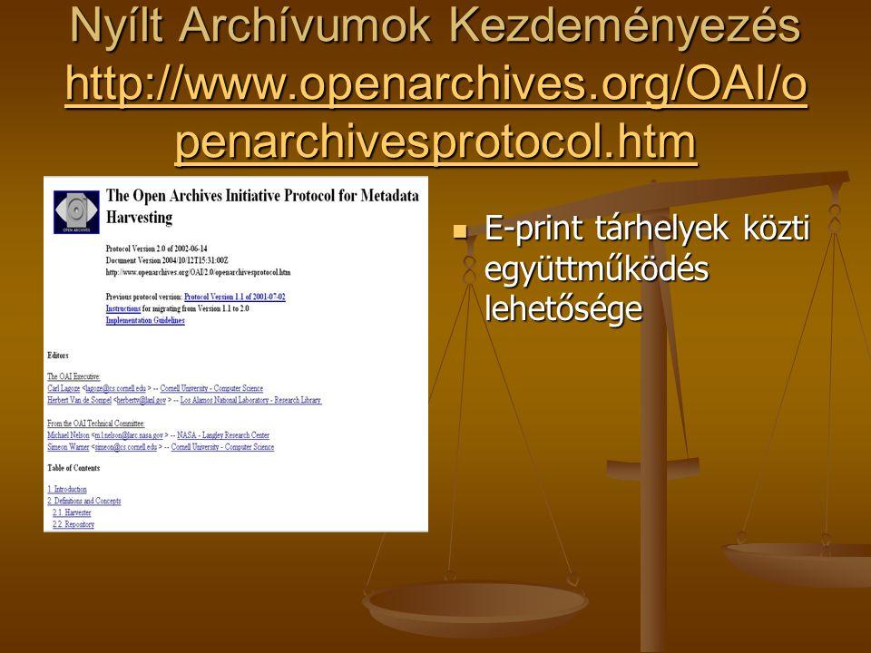 Nyílt Archívumok Kezdeményezés http://www.openarchives.org/OAI/o penarchivesprotocol.htm http://www.openarchives.org/OAI/o penarchivesprotocol.htm http://www.openarchives.org/OAI/o penarchivesprotocol.htm E-print tárhelyek közti együttműködés lehetősége