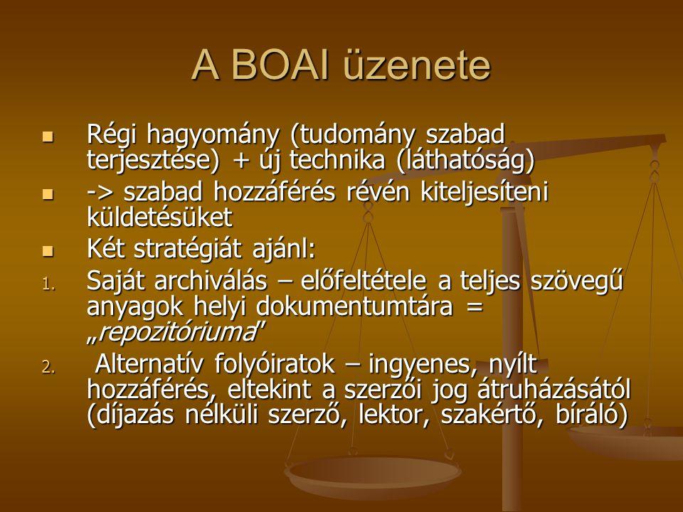 A BOAI üzenete Régi hagyomány (tudomány szabad terjesztése) + új technika (láthatóság) Régi hagyomány (tudomány szabad terjesztése) + új technika (láthatóság) -> szabad hozzáférés révén kiteljesíteni küldetésüket -> szabad hozzáférés révén kiteljesíteni küldetésüket Két stratégiát ajánl: Két stratégiát ajánl: 1.