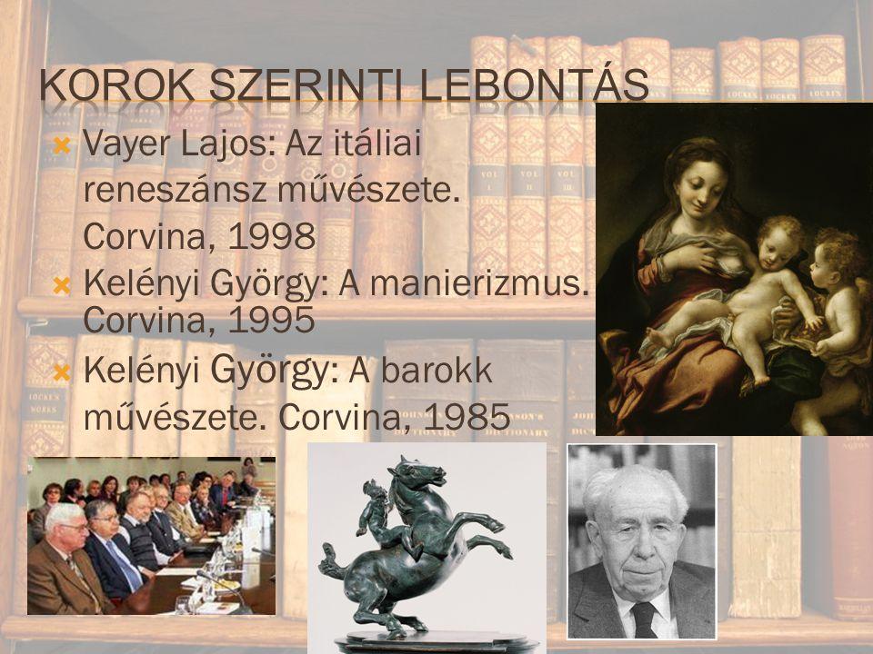  Vayer Lajos: Az itáliai reneszánsz művészete.Corvina, 1998  Kelényi György: A manierizmus.