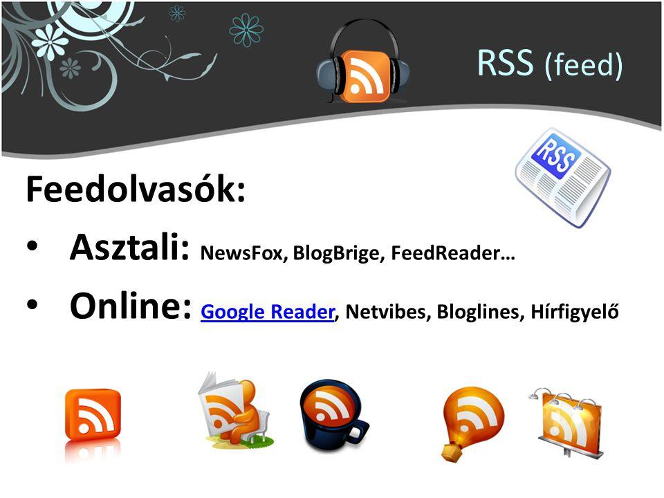 RSS (feed) Feedolvasók: Asztali: NewsFox, BlogBrige, FeedReader… Online: Google Reader, Netvibes, Bloglines, Hírfigyelő Google Reader