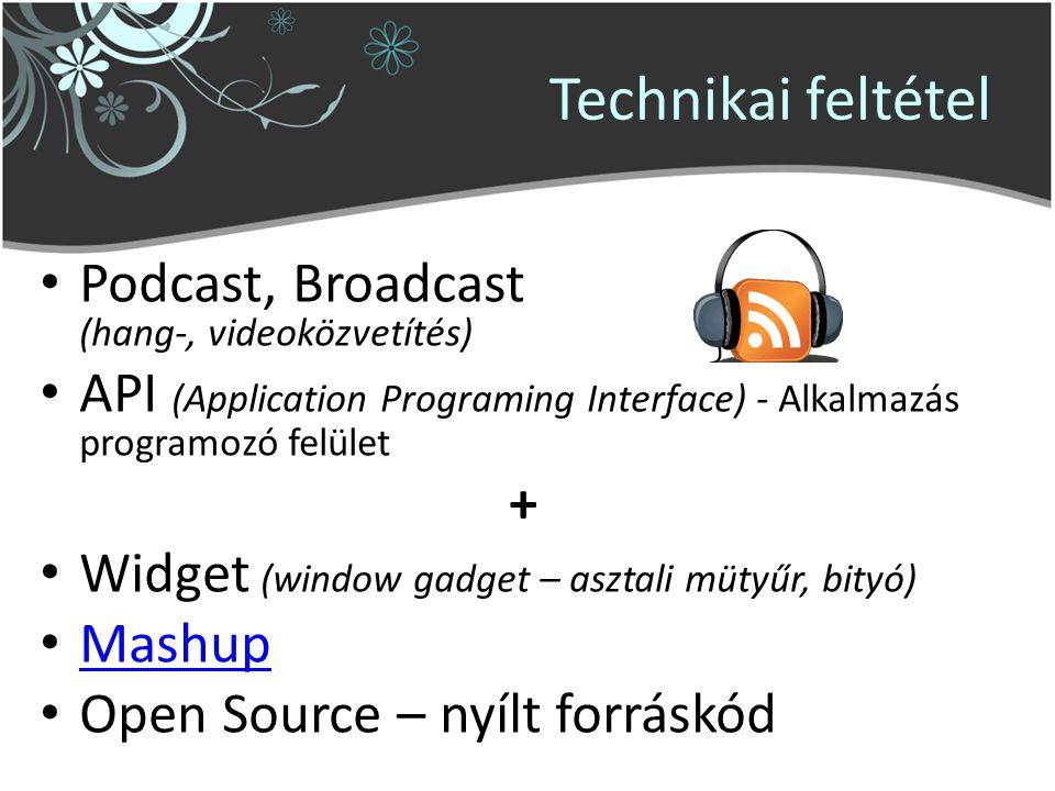 Technikai feltétel Podcast, Broadcast (hang-, videoközvetítés) API (Application Programing Interface) - Alkalmazás programozó felület + Widget (window gadget – asztali mütyűr, bityó) Mashup Open Source – nyílt forráskód