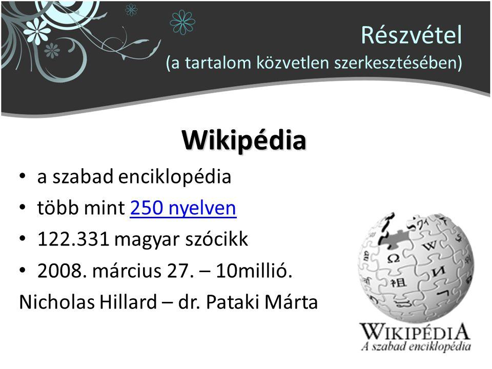 Részvétel (a tartalom közvetlen szerkesztésében) Wikipédia a szabad enciklopédia több mint 250 nyelven250 nyelven 122.331 magyar szócikk 2008.
