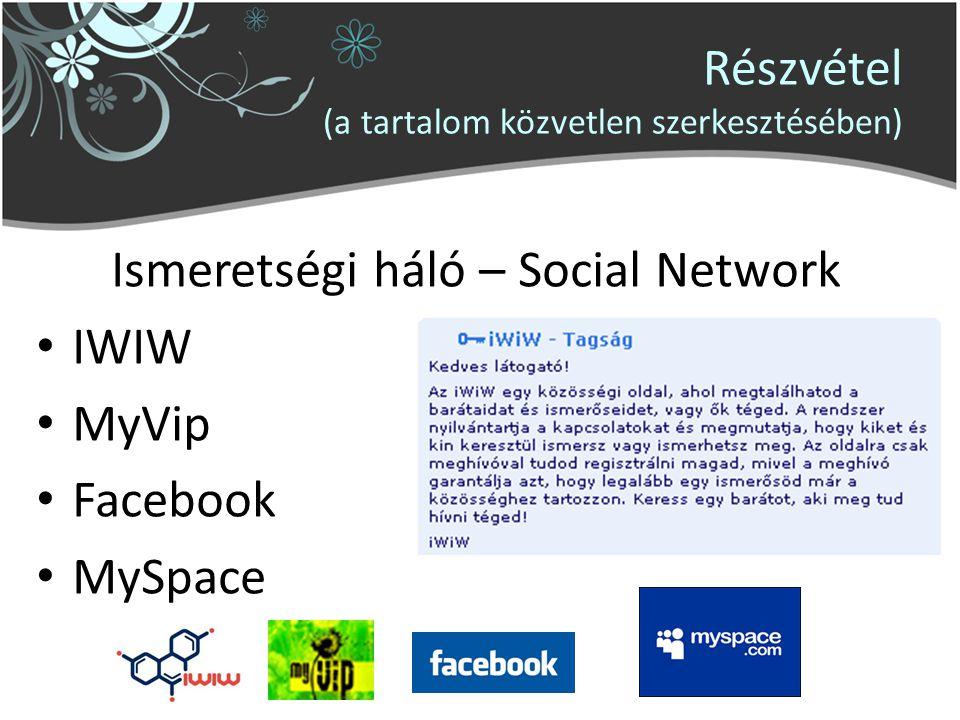 Részvétel (a tartalom közvetlen szerkesztésében) Ismeretségi háló – Social Network IWIW MyVip Facebook MySpace