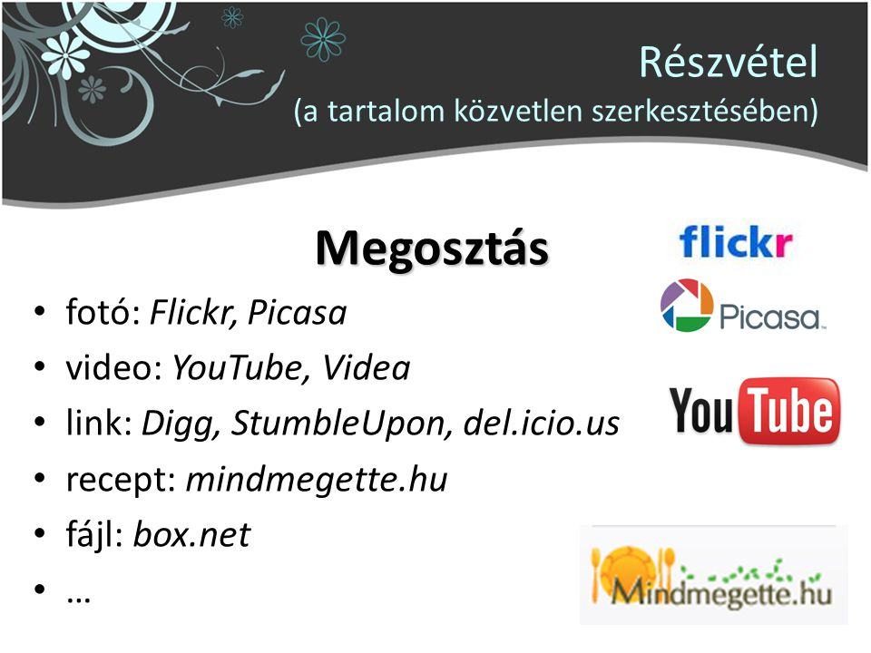 Részvétel (a tartalom közvetlen szerkesztésében) Megosztás fotó: Flickr, Picasa video: YouTube, Videa link: Digg, StumbleUpon, del.icio.us recept: min
