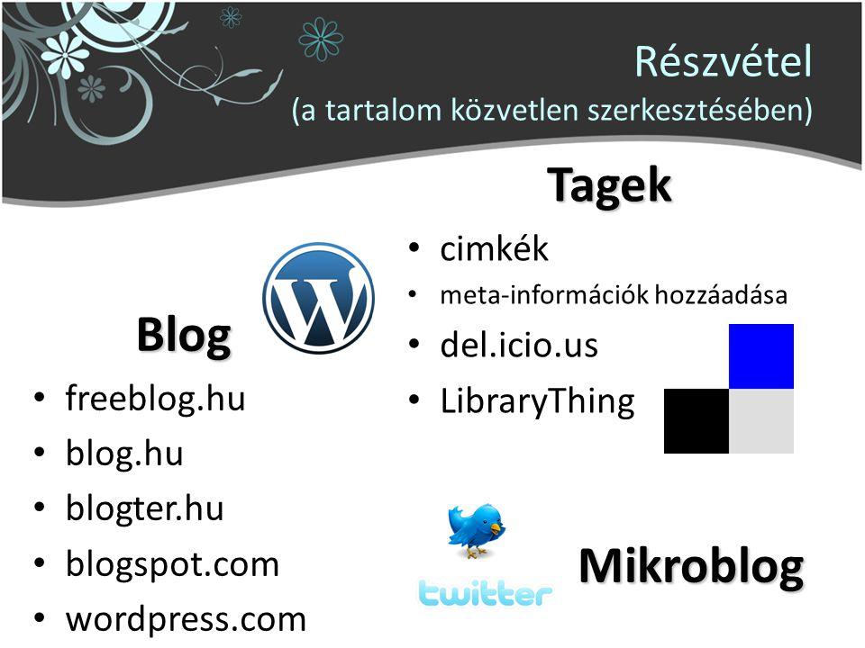 Részvétel (a tartalom közvetlen szerkesztésében) Blog freeblog.hu blog.hu blogter.hu blogspot.com wordpress.com Tagek cimkék meta-információk hozzáadása del.icio.us LibraryThing Mikroblog