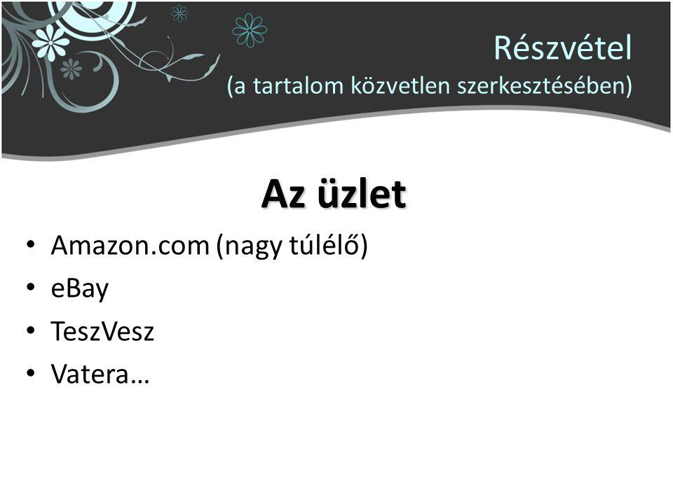 Részvétel (a tartalom közvetlen szerkesztésében) Az üzlet Amazon.com (nagy túlélő) eBay TeszVesz Vatera…