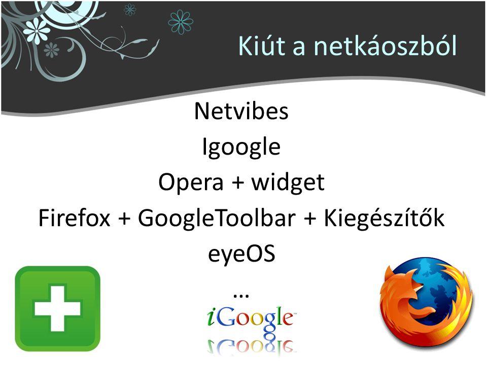 Kiút a netkáoszból Netvibes Igoogle Opera + widget Firefox + GoogleToolbar + Kiegészítők eyeOS …