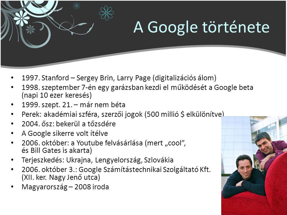 A Google története 1997.Stanford – Sergey Brin, Larry Page (digitalizációs álom) 1998.