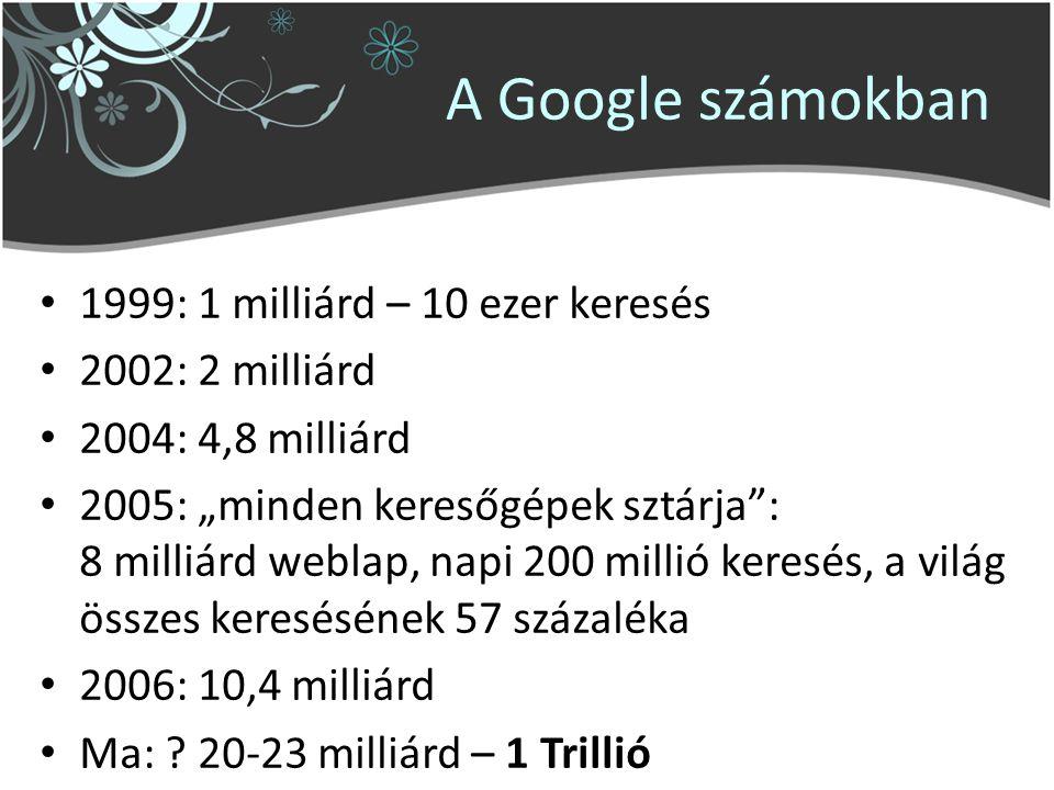 """A Google számokban 1999: 1 milliárd – 10 ezer keresés 2002: 2 milliárd 2004: 4,8 milliárd 2005: """"minden keresőgépek sztárja : 8 milliárd weblap, napi 200 millió keresés, a világ összes keresésének 57 százaléka 2006: 10,4 milliárd Ma: ."""