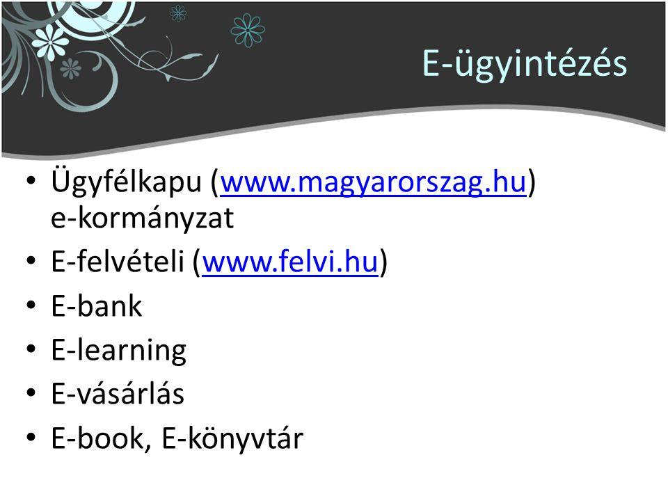 E-ügyintézés Ügyfélkapu (www.magyarorszag.hu) e-kormányzatwww.magyarorszag.hu E-felvételi (www.felvi.hu)www.felvi.hu E-bank E-learning E-vásárlás E-book, E-könyvtár