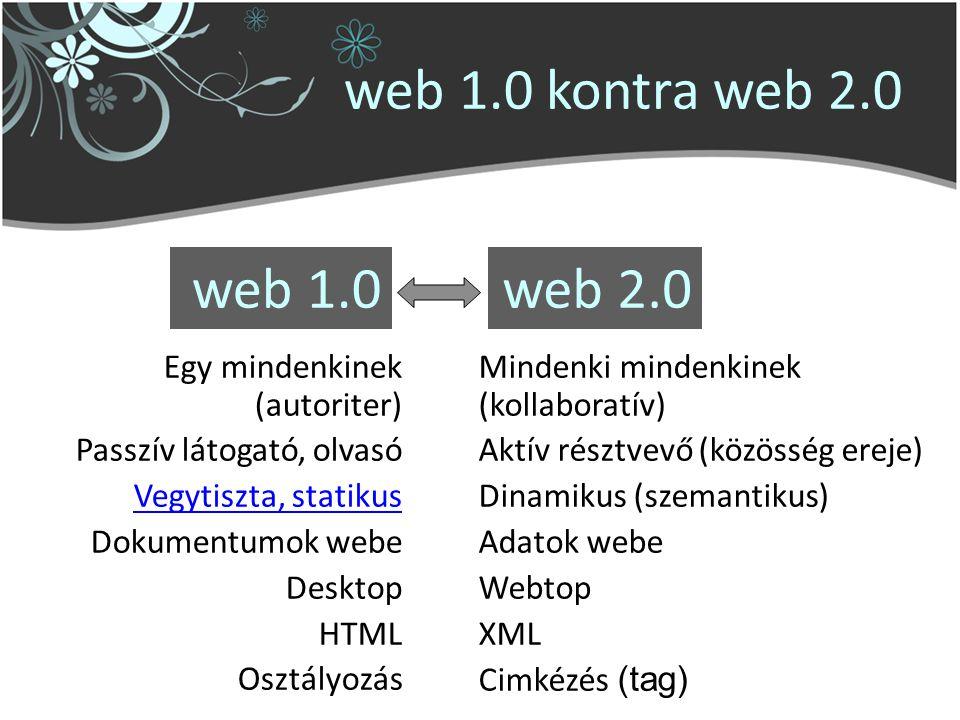 web 2.0 Egy mindenkinek (autoriter) Passzív látogató, olvasó Vegytiszta, statikus Dokumentumok webe Desktop HTML Osztályozás Mindenki mindenkinek (kollaboratív) Aktív résztvevő (közösség ereje) Dinamikus (szemantikus) Adatok webe Webtop XML Cimkézés (tag) web 1.0 web 1.0 kontra web 2.0
