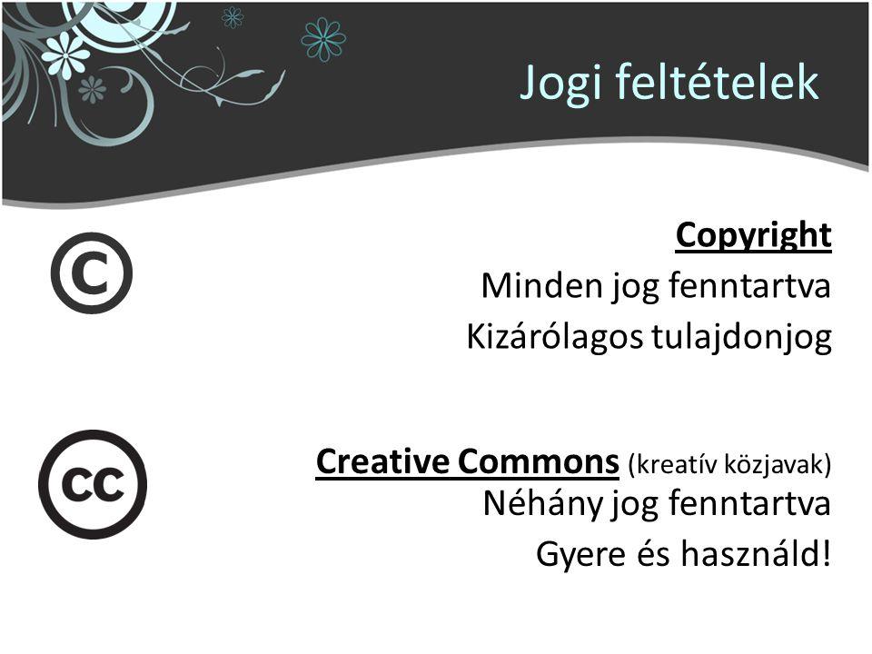 Jogi feltételek © Copyright Minden jog fenntartva Kizárólagos tulajdonjog Creative Commons (kreatív közjavak) Néhány jog fenntartva Gyere és használd!