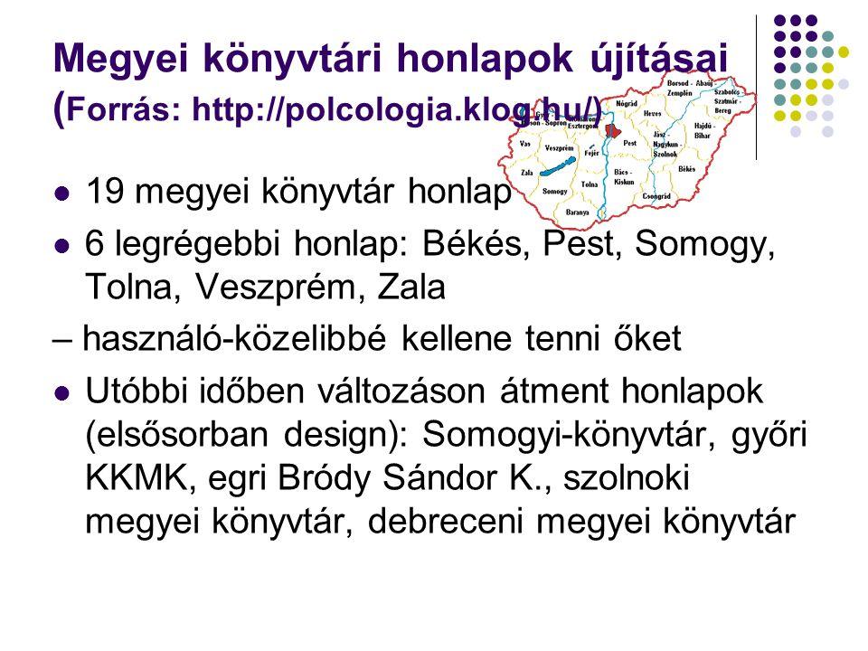Megyei könyvtári honlapok újításai ( Forrás: http://polcologia.klog.hu/) 19 megyei könyvtár honlap 6 legrégebbi honlap: Békés, Pest, Somogy, Tolna, Veszprém, Zala – használó-közelibbé kellene tenni őket Utóbbi időben változáson átment honlapok (elsősorban design): Somogyi-könyvtár, győri KKMK, egri Bródy Sándor K., szolnoki megyei könyvtár, debreceni megyei könyvtár
