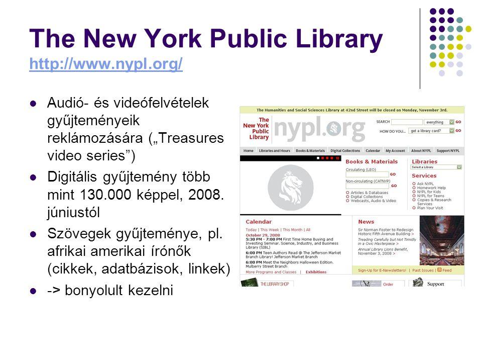 """The New York Public Library http://www.nypl.org/ http://www.nypl.org/ Audió- és videófelvételek gyűjteményeik reklámozására (""""Treasures video series ) Digitális gyűjtemény több mint 130.000 képpel, 2008."""
